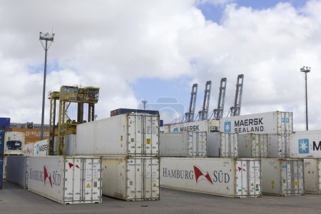 Containers and cranes in Port in Montevideo, Urugu...