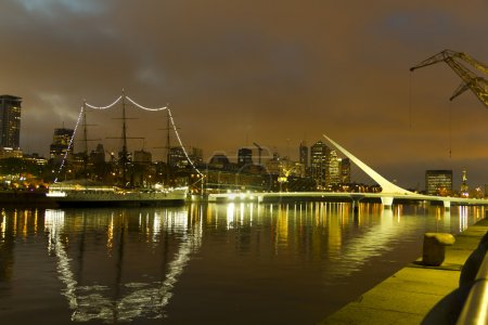 The maritime zone in Buenos Aires by night. Argent...