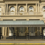 Colon Theatre facade on 9 de julio Avenue at Bueno...