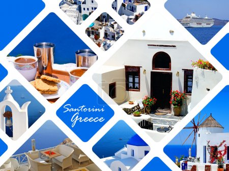 Photo for Set of summer photos in Santorini island, Greece - Royalty Free Image