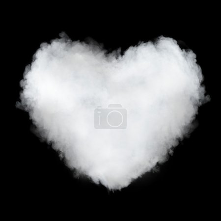 Photo for Heart shaped cloud isolated on black - Royalty Free Image