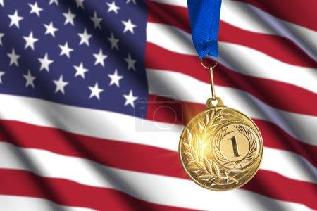 golden medal against USA flag background