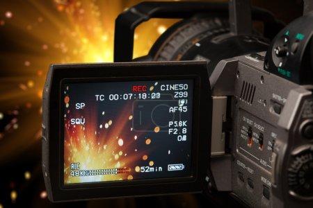 screen of a camcorder capturing firework