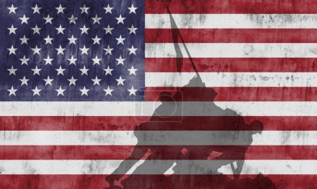 Photo pour Le monument commémoratif de guerre du Corps des Marines peint le drapeau américain - image libre de droit