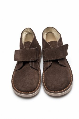 Brown leather boots for kids