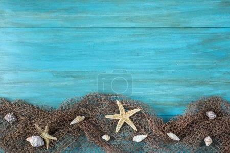 Summer holidays background in blue with fishing ne...