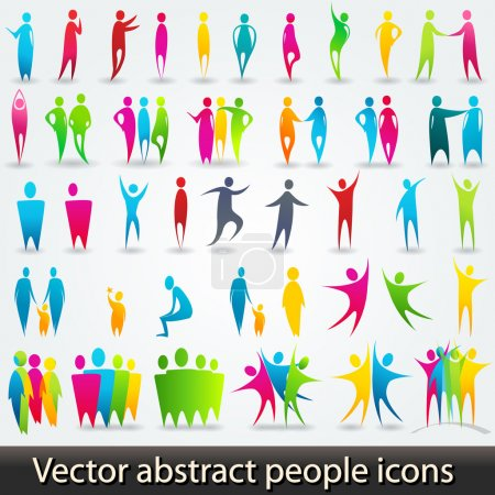 Illustration for Vector set of colorful abstract silhouettes - Royalty Free Image