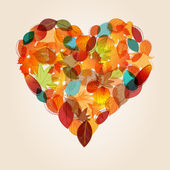 Colorful heart from autumn leaves illustration