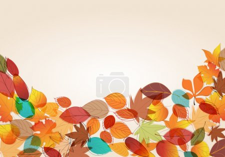Illustration for Vector cute, colorful, hand drawn style autumn leaves background illustration - Royalty Free Image