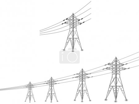Set of power lines and electric pylons