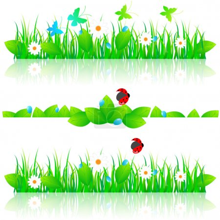 Illustration for Vector beautiful grass set with daisies, water drops, butterflies and ladybug - Royalty Free Image