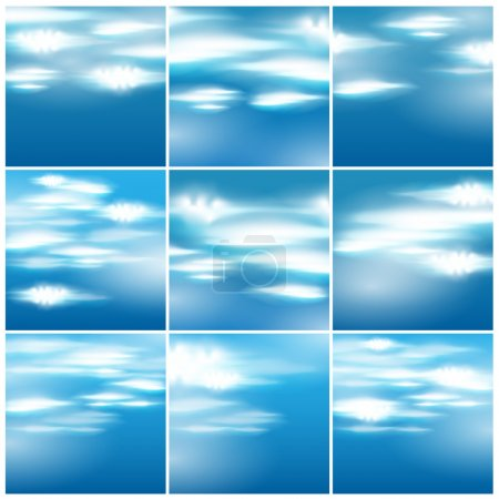 Illustration for Vector set of 9 beautiful blue sky with clouds illustrations - Royalty Free Image