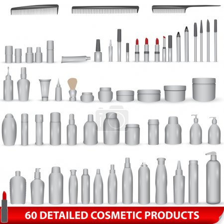 Photo for Vector large set of 60 very detailed white, blank different cosmetic products - bottles, lipsticks, combs, packages - Royalty Free Image