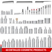 Large set of white blank cosmetic product packages