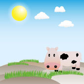 Funny vector cow in the meadow
