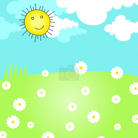 Illustration for Vector hand drawn style illustration of a cute summer meadow with Sun and daisies - Royalty Free Image