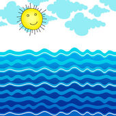 Cute ocean illustration with Sun