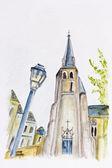 Summer street of old European town