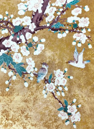 Photo for Hummingbirds flying over the flowers blossoming Chinese cherry. Picture is handmade drawn in the style of Chinese lacquer painting. - Royalty Free Image