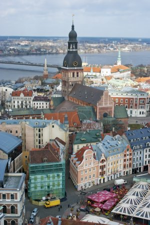 Old Riga city roofs
