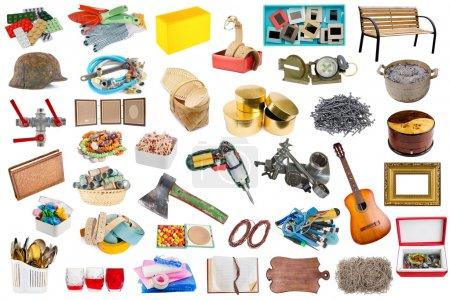 Photo pour Simple objets et outils ménagers communs ensemble isolé. Toutes les images grand format est dans mon portefeuille - image libre de droit