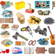 Simple common household objects and tools isolated...