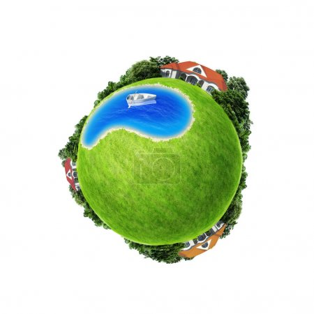 Mini planet concept isolated