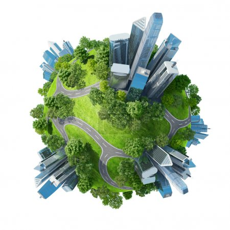 Photo for Conceptual mini planet green parks along with skyscrapers and roads. Calmness in city chaos. One of a series. Isolated. - Royalty Free Image