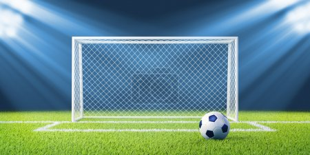 Photo for Football (soccer) goals and ball on clean empty green field. Concept for team, championship, league, competition poster website design. One from collection. - Royalty Free Image