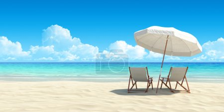 Photo for Beach chair and umbrella on sand beach. Concept for rest, relaxation, holidays, spa, resort. - Royalty Free Image