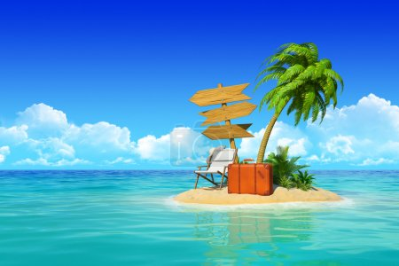 Photo for Desert tropical island with palm tree, chaise lounge, suitcase and three empty wooden signpost. Concept for rest, holidays, resort, travel. - Royalty Free Image