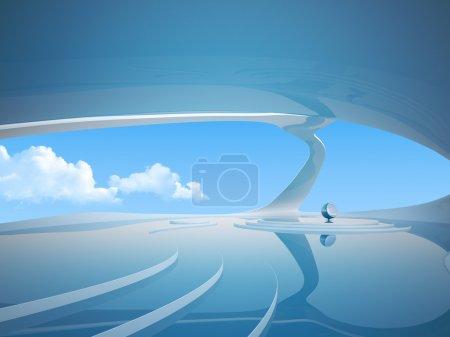 Photo pour Future Interior abstrait. Contexte commercial. Laboratoire Bleu. Laboratoire de science-fiction. Salle de réunion d'affaires - image libre de droit