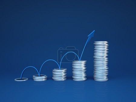 Photo pour Croissance des bénéfices .Concept avec flèche et pièces stylisées comme graphique - image libre de droit