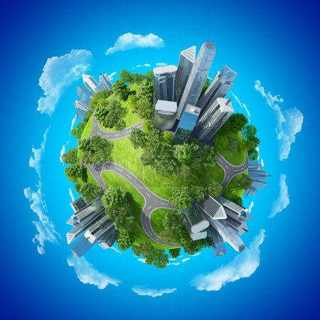 Photo for Ecology creative design concept of living. Conceptual eco mini planet green parks along with skyscrapers and roads. Business illustration. Calmness in city chaos. One of a series. - Royalty Free Image