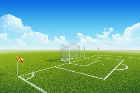 Football (soccer) goal, penalty zone and corner flag on clean empty playing field.