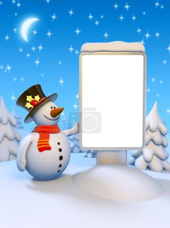 Photo pour Commandes de drôle de bonhomme de neige de la Vierge citylight. belle forêt enneigée, la lune et le ciel d'hiver étoilé. surface de placer votre texte de voeux, un logo ou photo - image libre de droit