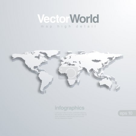 Illustration for World map 3D vector illustration. Useful for infographics Global concept. - Royalty Free Image