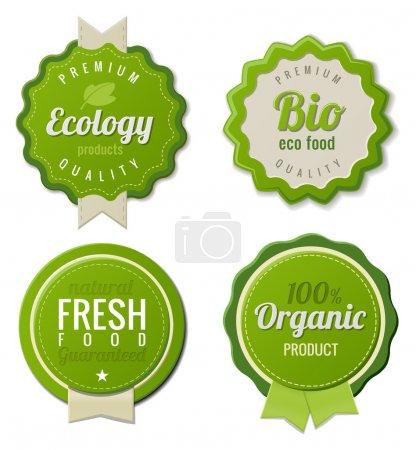 Ilustración de Conjunto de plantillas de Eco etiquetas vintage bio. tema de la ecología. diseño de plantilla logo retro. más alta calidad. vector 3D. - Imagen libre de derechos