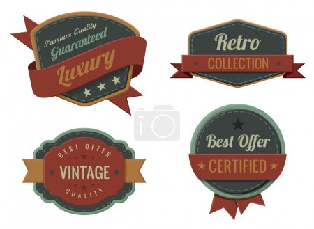 Illustration for Vintage Labels template collection. Luxury Retro logo template. Extra High quality. Old design 3D Vector. - Royalty Free Image