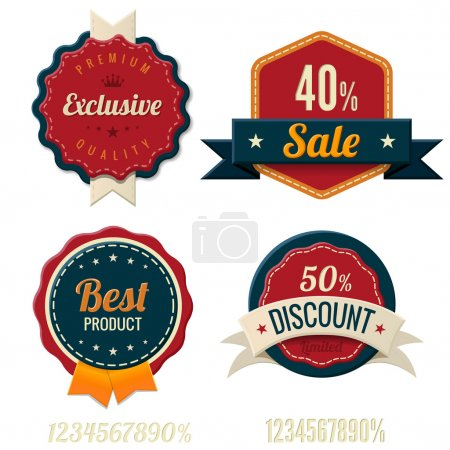 Illustration for Vintage Labels template set. Sale, discount theme. Retro logo template design. Extra High quality. 3D Vector. Beveled Numbers included! - Royalty Free Image