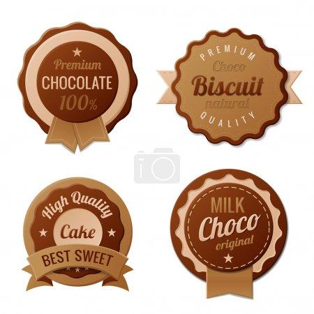 Illustration pour Chocolate Vintage Labels une telle collection de modèles de logo. Design rétro de luxe Choco. Vintage de très haute qualité. Vecteur . - image libre de droit