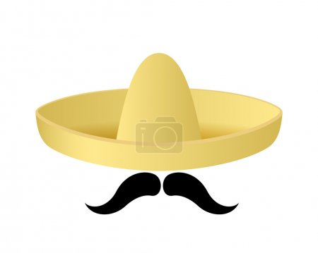 Illustration for Sombrero hat vector. Mustache. Mexican concept. - Royalty Free Image