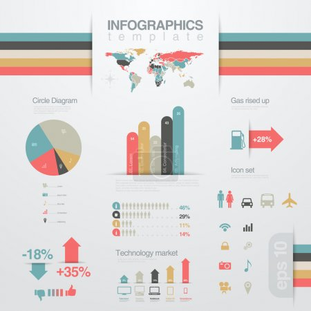 Infographics design elements template. Business report. Financial statistics. Graph, chart, diagram design solution. Vector. Editable.