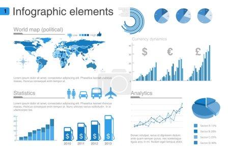Illustration pour Modèle de conception d'infographie. Graphique, diagramme, éléments de conception de graphiques . - image libre de droit