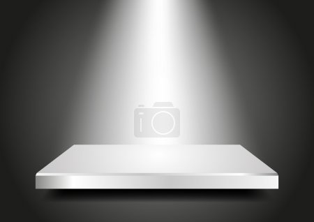 Illustration for Background abstract for exhibit in virtual space. Blank podium 3D with light from the top. Vector Presentation template for your product. Editable. - Royalty Free Image