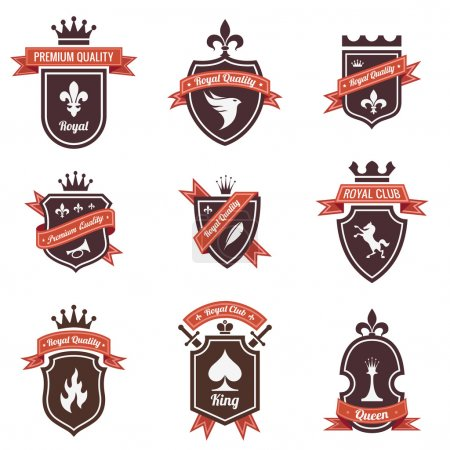 Vintage Labels set. Place your logo on shield. Copyspace. Shield with ribbon and crown. Coat of arms. Retro design. High quality.