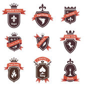 Vintage Labels set Place your logo on shield Copyspace Shield with ribbon and crown Coat of arms Retro design High quality