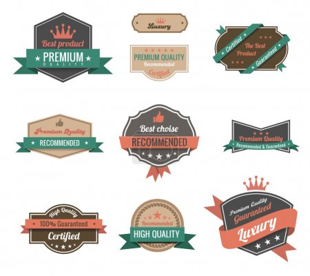 Vintage labels collection. Premium quality. Creative trendy design. Retro logo template high detail. Insignia Vector. Editable.