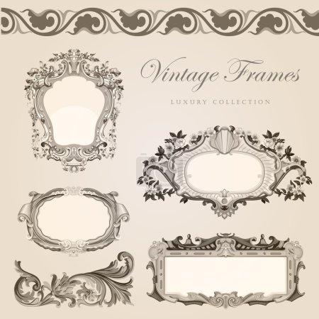 Photo pour Cadre vectoriel vintage bordure. Modèle d'invitation de mariage rétro - image libre de droit
