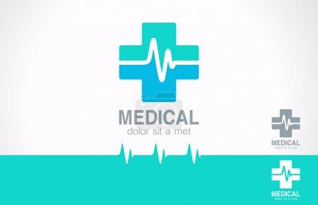 Illustration pour Modèle de conception de logo de pharmacie médicale. Icône croix médicale avec cardiogramme. Identité vectorielle. Modifiable . - image libre de droit